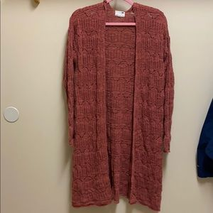 Rust colored long cardigan